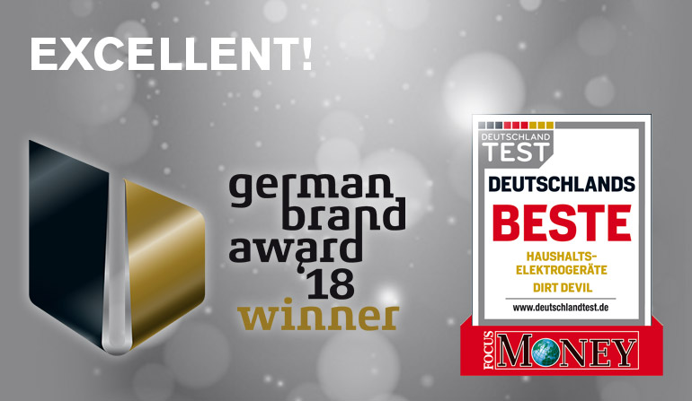 Dirt Devil® German Brand Award 2018 Winner 8 and Focus Money - Deutschlands Beste